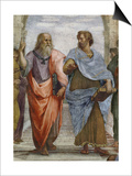 Aristotle and Plato: Detail of School of Athens, 1510-11 (Fresco) (Detail of 472) Affiches par  Raphael