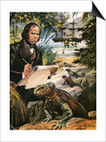 Charles Darwin on the Galapagos Islands Prints by Andrew Howat