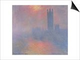The Houses of Parliament, London, with the Sun Breaking Through the Fog, 1904 Poster by Claude Monet