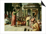 St. Paul Preaching at Athens (Sketch for the Sistine Chapel) (Pre-Restoration) Art par  Raphael