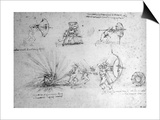Study with Shields For Foot Soldiers and an Exploding Bomb, c.1485-88 Art by  Leonardo da Vinci