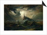 Stormy Sea with Lighthouse Posters by Karl Blechen