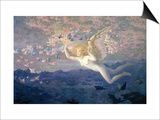 On the Wings of the Morning, 1905 (W/C Heightened with Bodycolour and Gold Paint) Posters by Edward Robert Hughes