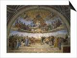 The Disputation of the Holy Sacrament, from the Stanza Della Segnatura, 1509-10 Poster par  Raphael