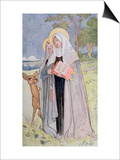 St. Bridget of Sweden Illustration from a Book on Famous Women of Sweden, 1900 Prints by Carl Larsson