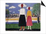 Two Figures in a Landscape, C.1931-32 Plakater af Kasimir Malevich