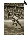 Jesse Owens at the Start of the 200m Race at the 1936 Berlin Olympics - Poster