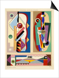 Abstract Designs, from 'Decorations and Colours', Published 1930 (Colour Litho) Poster by Georges Valmier