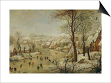 Winter Landscape with Bird Trap Affiche par Pieter Brueghel the Younger