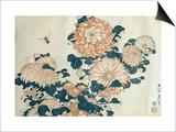 Chrysanthemums Print by Katsushika Hokusai