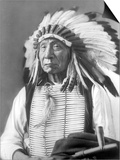 David Frances Barry - Red Cloud, Dakota Chief, Wearing a Headdress, 1880s - Poster