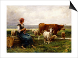 Shepherdess with Cows and Goats Prints by Julien Dupre