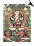 Thangka of Buddha Shakamunyi with Manjushri and Vajrapani Posters