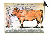 Beef: Diagram Depicting the Different Cuts of Meat Prints