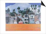 Houses under the Cliff, Santa Monica, USA, 2002 Prints by Peter Wilson