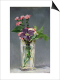 Pinks and Clematis in a Crystal Vase, c.1882 Prints by Édouard Manet