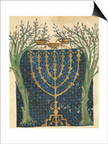 Illumination of a Menorah, from the Jewish Cervera Bible, 1299 Prints by Joseph Asarfati