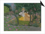 Krishna and Radha Embracing in a Grove, Kangra, Himachal Pradesh, Pahari School, circa 1785 Art