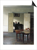 An Interior with a Woman Playing Piano, 1910 Prints by Vilhelm Hammershoi