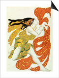 """Costume Design for a Bacchante in """"Narcisse"""" by Tcherepnin, 1911 Poster by Leon Bakst"""