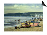 Children on the Beach at Abersoch Print by Trevor Chamberlain
