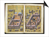 Ms.343.F15V-16R the Mosques at Medina and Mecca, from 'Reasons for Charity', by Mustafa Art