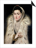 Lady in a Fur Wrap Prints by  El Greco