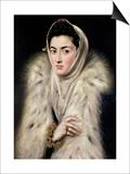 Lady in a Fur Wrap Prints by  El Greco