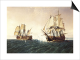 Combat Between the Spanish Ship 'Catalan' and the British Ship 'Mary' in 1819, 1888 Prints by Rafael Monleon Y Torres