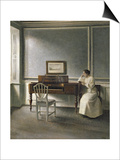 Woman Reading by a Piano, 1907 Posters by Vilhelm Hammershoi