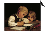 Boy Writing with His Sister, 1875 Art by Albert Anker
