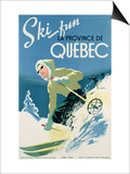 Poster Advertising Skiing Holidays in the Province of Quebec, c.1938 Prints