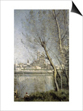 Mantes, View of the Cathedral and Town Through the Trees, c.1865-70 Posters by Jean-Baptiste-Camille Corot