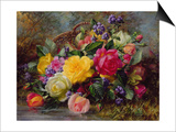 Roses by a Pond on a Grassy Bank Posters by Albert Williams