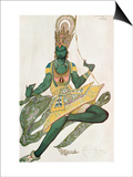 Costume Design for Nijinsky (1889-1950) for His Role as the 'Blue God', 1911 (W/C on Paper) Print by Leon Bakst