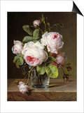 Roses in a Glass Vase on a Ledge Posters by Cornelis van Spaendonck