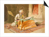 Sikh Priest Reading the Grunth, Umritsar, from 'India Ancient and Modern', 1867 (Colour Litho) Art by William 'Crimea' Simpson