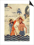 Baptism of Christ, from a Gospel, 1330 Posters by  Guirages