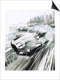 D-Type Jaguar at the 1954 Le Mans Poster by Graham Coton
