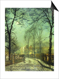 A Moonlit Road, 19th Century Posters by John Atkinson Grimshaw