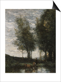 The Pond, Cowherd Prints by Jean-Baptiste-Camille Corot