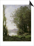 The Goatherd Beside the Water Poster by Jean-Baptiste-Camille Corot
