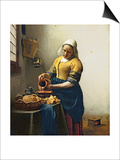The Milkmaid, circa 1658-60 Posters by Jan Vermeer