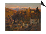Afterglow - the Alhambra and Sierra Nevada, Granada, c.1905 Posters by Albert Moulton Foweraker