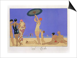 At the Lido, Engraved by Henri Reidel, 1920 (Litho) Poster by Georges Barbier