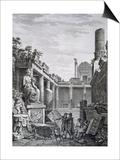 Interior of the Roman Baths, Nimes, from 'Antiquites De La France: Vol I, Monuments De Nimes' Prints