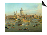 The River Thames with St. Paul's Cathedral on Lord Mayor's Day, Detail of St. Paul's Cathedral Prints by  Canaletto