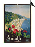 Poster Advertising the Amalfi Coast Prints by Mario Borgoni