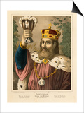 Portrait of Gambrinus, Legendary King of Flanders, Pictorial Broadsheet Published by F.C.… Prints by German School