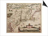 Novi Belgi Novaeque Angliae [New Netherland and New England], 1682 Posters by Nicolaes the Younger Visscher